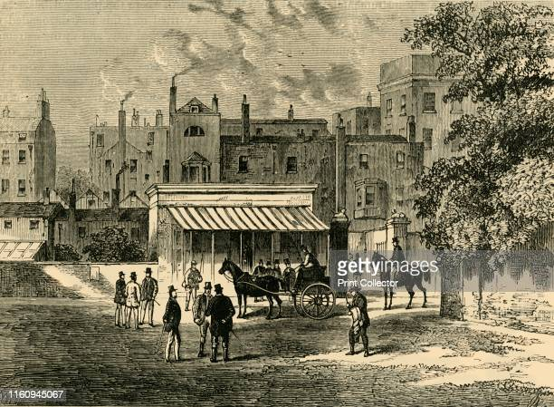 """Entrance to Old """"Tattersall's"""".', circa 1876. Auctioneer of race horses, founded in 1766 by Richard Tattersall , at Hyde Park corner then moving to..."""