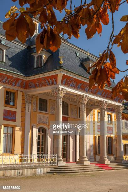Entrance to Pillnitz castle on a bright autumn day