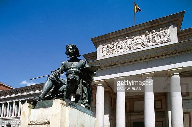 Entrance to Prado Museum and the Monument to Velasquez architect Juan de Villanueva Madrid Spain