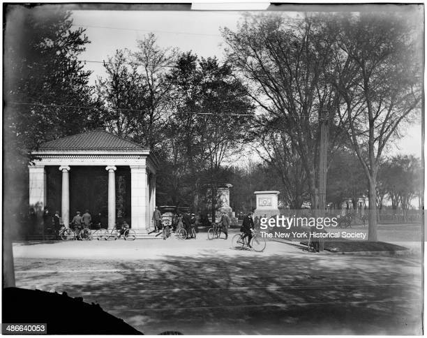 Entrance to Prospect Park with many people on bicycles Brooklyn New York New York 1895