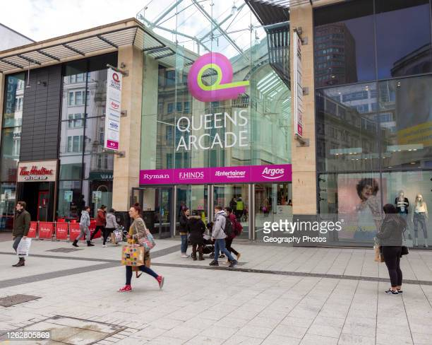 Entrance to Queens Arcade shopping center, Queen Street, Cardiff, South Wales, UK.