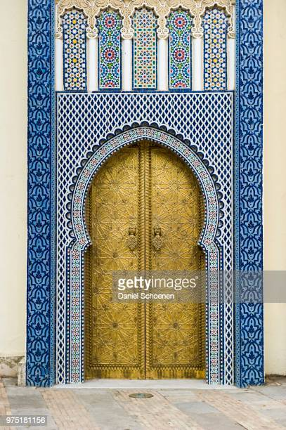 entrance to sultanate palace, dar-el-makhzen, fes, morocco - embellishment stock pictures, royalty-free photos & images