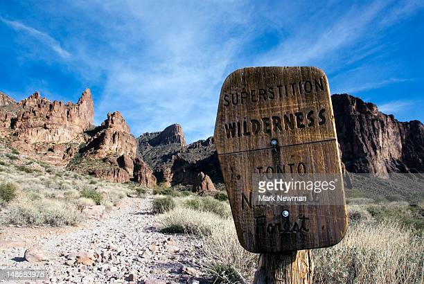 entrance to superstition mountain wilderness - blessing stock pictures, royalty-free photos & images