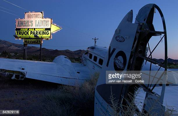 Entrance to the Angel's Ladies Brothel 3 miles north of Beatty on Highway 95 Mac Moore the owner of the brothel said that years' back the pilot...