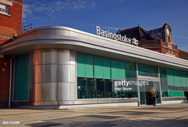 entrance to the basingstoke rail station - basingstoke stock pictures, royalty-free photos & images