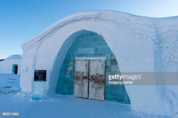 Entrance to the classic Icehotel in Jukkasjarvi near Kiruna in Swedish Lapland northern Sweden