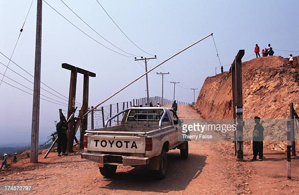 Entrance to the fortress of Ta Thang base of the United Wa State Army leader in charge of Maung Yawn the new southern Wa city said to be built mostly...