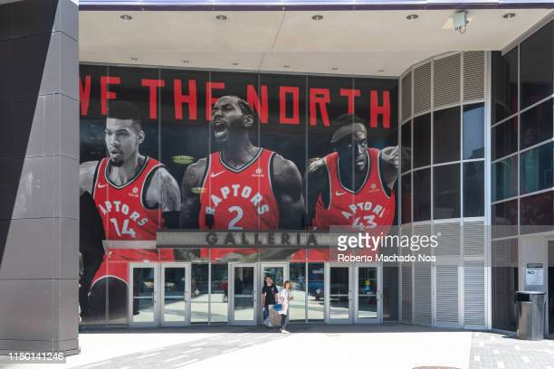 Entrance to the Galleria of the Scotiabank arena . Decorations as the Toronto Raptors Basketball team is playing the NBA playoffs for the first time...