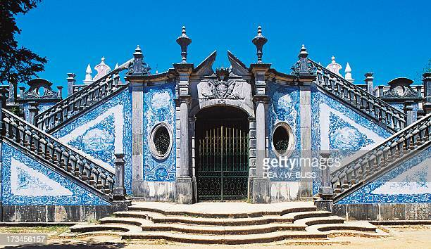 Entrance to the garden of Estoi Palace decorated with azulejos tiles Estoi Faro district Algarve Portugal