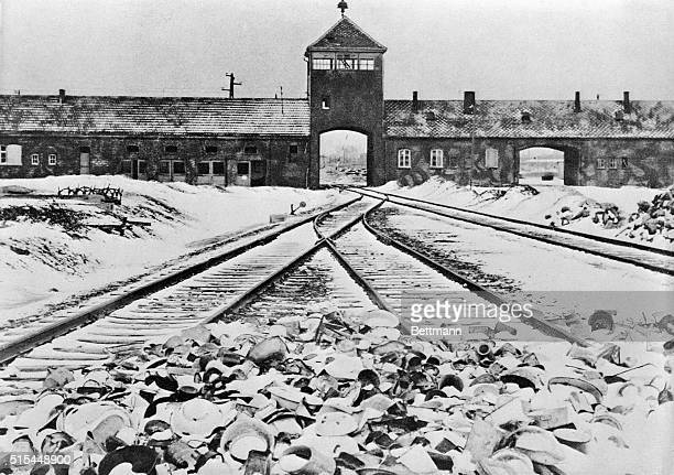 Entrance to the German concentration camp of Auschwitz-Birkenau in Poland. Undated B/W photograph.