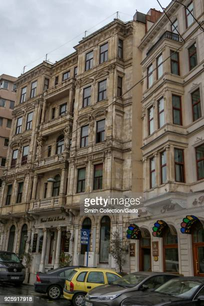Entrance to the Grand Hotel de Londres and Grand Hotel De Pera Beyoglu district Istanbul Turkey November 20 2017