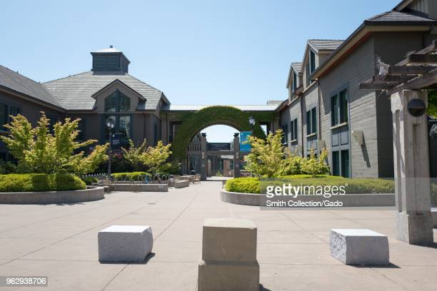 Entrance to the Haas School of Business on a sunny day on the main campus of UC Berkeley in downtown Berkeley California May 21 2018