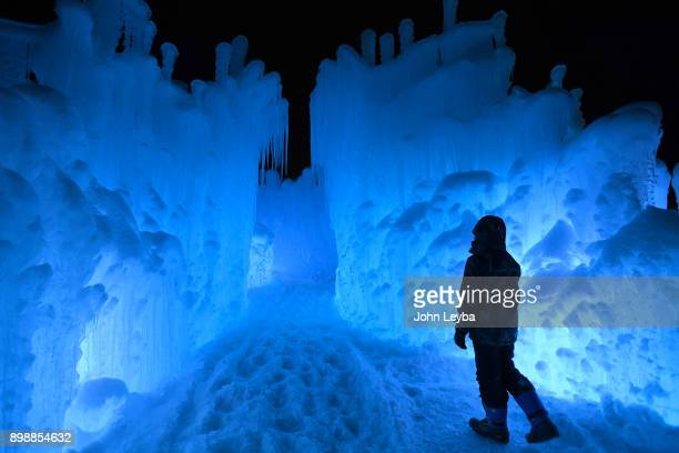Entrance to the Ice Castle at Dillon Town Park on December 26 2017 in Dillon Colorado during a preview before its official opening later in the week...