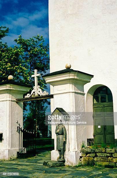 Entrance to the Kaarlela church in Kokkola Finland
