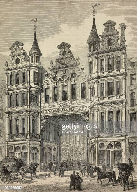 Entrance to the Leadenhall Market London United Kingdom engraving from The Illustrated London News No 2225 December 24 1881