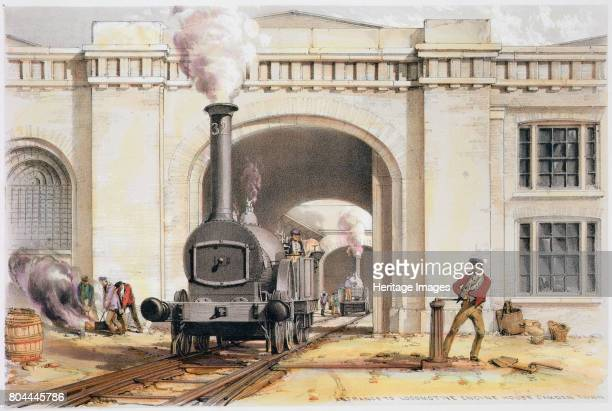 Entrance to the locomotive engine house Camden Town London 1839 Scene during the construction of the London Birmingham Railway Under the guidance of...