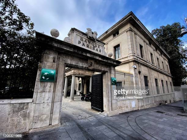 Entrance to the Madrid headquarters of the Bank BNP Paribas at Calle Hermanos Becquer, 3 on February 10, 2020 in Madrid, Spain.
