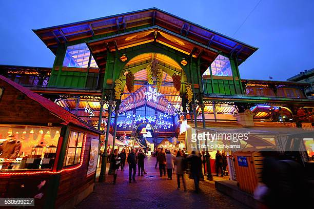 entrance to the marché de noël in switzerland - montreux stock pictures, royalty-free photos & images