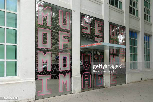 entrance to the museum of the moving image in queens - rainer grosskopf stock pictures, royalty-free photos & images