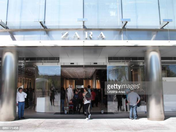 Entrance to the new Zara store on April 07 2017 in Madrid Spain The store is the biggest Zara store in the world measuring 6000 square meters