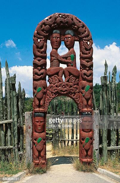 Entrance to the palace fortified Maori village Rotorua New Zealand