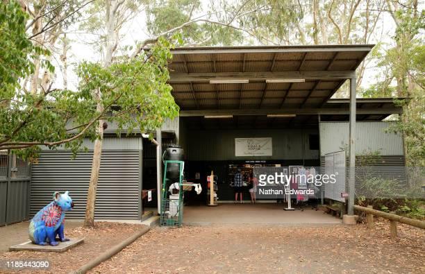 Entrance to the Port Macquarie Koala Hospital on November 29, 2019 in Port Macquarie, Australia. Volunteers from the Koala Hospital have been working...
