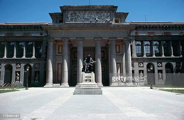 Entrance to the Prado Museum with the Monument to Velasquez architect Juan de Villanueva Madrid Spain