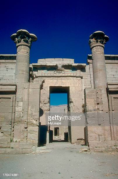 Entrance to the Ramesseum the large mortuary temple built by Rameses II and dedicated to the god Amun The Necropolis at Thebes West Bank Luxor Egypt