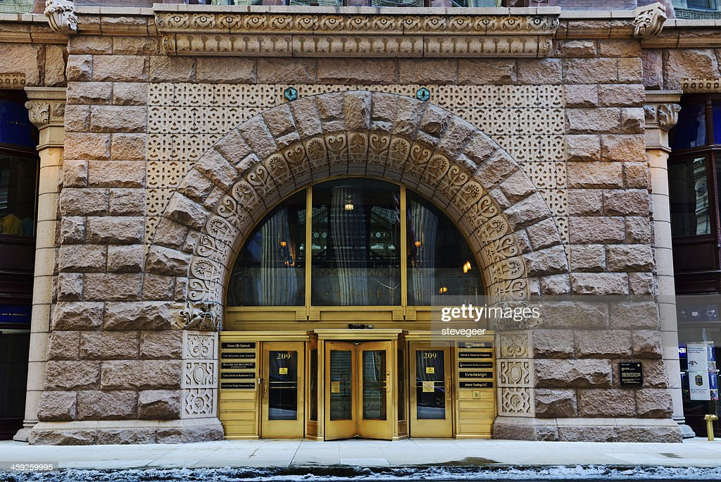 Entrance to The Rookery, downtown Chicago : Stock Photo