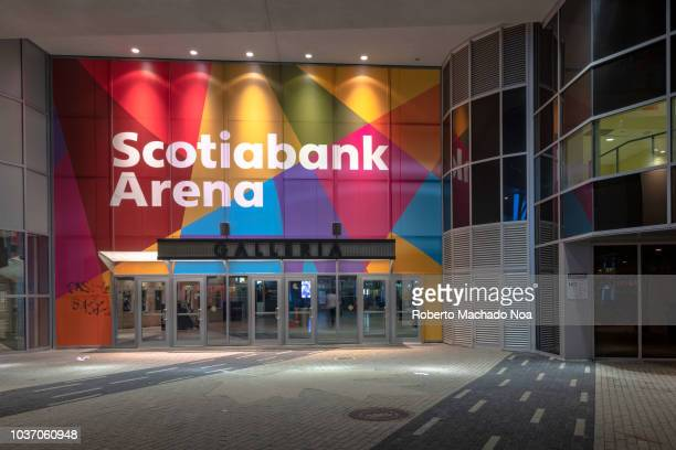 Entrance to the Scotiabank Arena Gallery at night The famous place is a tourist attraction in the capital city of the Ontario province