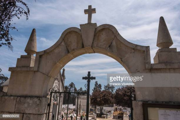Entrance to the small village cemetery where forest fire victims are being buried on June 22 2017 in Vila Facaia Portugal This small village part of...