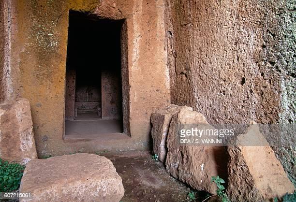 Entrance to the Tomb of the Beds Caiolo necropolis necropolis of San Giuliano Barbarano Romano Marturanum regional park Lazio Italy Etruscan...