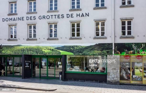 Entrance to the tourist attraction Caves of HansurLesse / Grottes de Han Belgian Ardennes Belgium