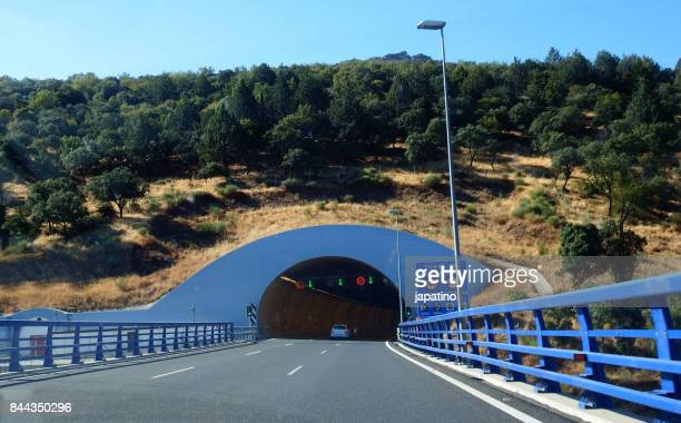 Entrance to the tunnel of Despeñaperros that communicates the community of Castilla and Andalucia in Spain