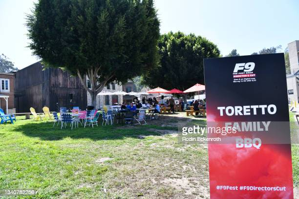 """Entrance to """"Toretto Family BBQ"""" at the F9 Fest event on the Universal Studios backlot celebrating F9: The Fast Saga on September 15, 2021 in..."""