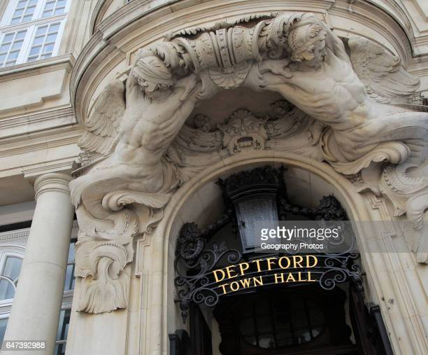 Entrance to town hall, Deptford, south London, England, UK built 1903-05 architectural sculpture by Henry Poole..