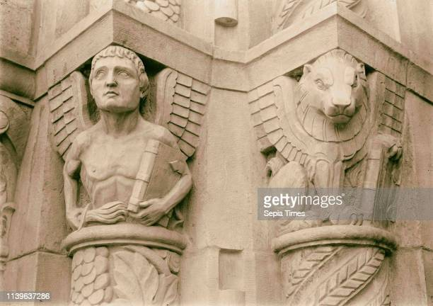 Entrance to YMCA Symbolic figure of St Matthew symbolic figure of St Mark Lion 1934 Jerusalem