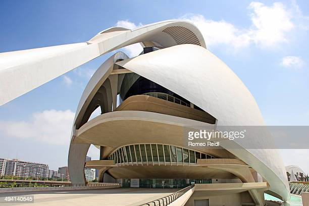 Entrance view from Santiago Calatrava's fantastic-looking Opera house and performing arts center at the City of Arts and Sciences in Valencia, Spain....