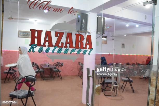 Entrance view of Balochistan's first women run restaurant in Quetta Pakistan on October 25 2017 Hamida Ali Hazara owner of Balochistan's first women...