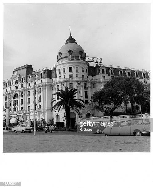 Entrance view of The Hotel Negresco on the Promenade Des Anglais on the Baie des Anges in Nice France 1955