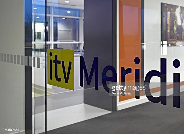 Entrance view through glass ITV Meridian Studio Office Europe United Kingdom Hampshire Moxon