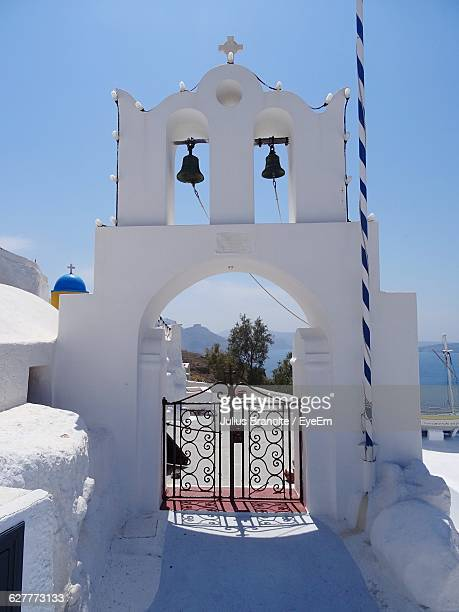 Entrance With Bell Towers At Santorini