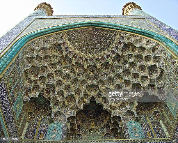 entrance-iwan of the imam mosque, isfahan, iran - carving craft product stock photos and pictures