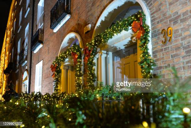 Entrances to Georgian houses in Merrion Square decorated with Christmas lights, as the Irish capital prepares for the Christmas Season. Taoiseach...