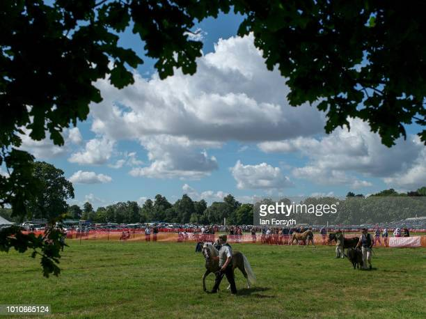 Entrants and their ponies make their way around the ring during 152nd the Ryedale Country Show on July 31 2018 in Kirbymoorside England Held in...