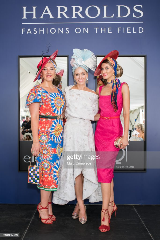 Entrants at the Fashion on the Field event, Kerrie Carucci, Carle Rutledge and Lindsay Ridings attend Magic Millions Raceday on January 13, 2018 in Gold Coast, Australia.