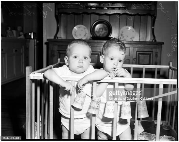 Entrants to Baby Show in Ladera Park 18 July 1958 George Marsh 12 monthsJanet Marsh 12 monthsCaption slip reads 'Photographer Olmo Date Reporter...