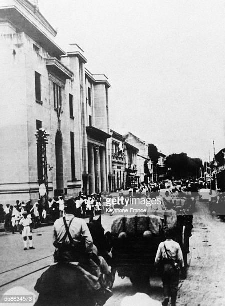 Entrée des troupes japonaises en Indochine française, au Cambodge, en 1941.