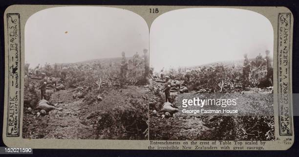 Entrenchments on the crest of Table Top scaled by the irresistible New Zealanders with great courage Gallipoli Turkey ca 1915
