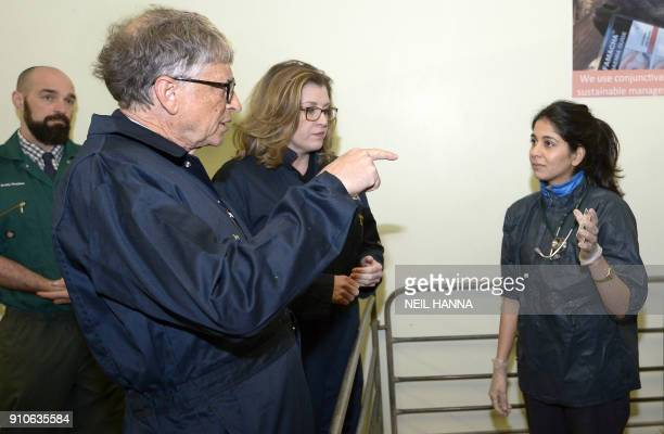 US entrepeneur and cofounder of the Microsoft Corporation Bill Gates and Britain's International Development Secretary Penny Mordaunt meet vet Andy...